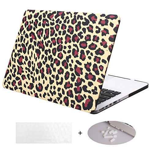 DWON MacBook Case Pro 13 Inch with Retina with Keyboard Cover and Dust Plug for Apple MacBook Pro 13 Inch Sleeve Model (A1502/A1425, Version 2015/2014/2013/end 2012) - Small Leopard