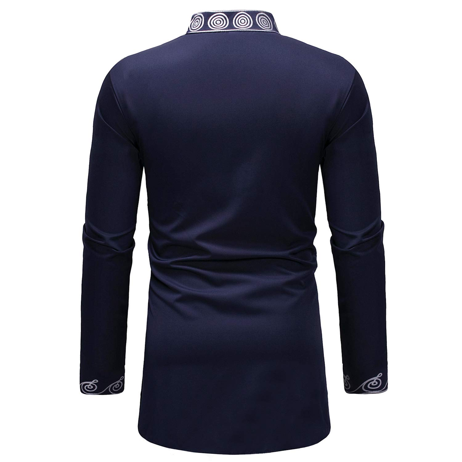 Tootless-Men African Long-Sleeve Mid-Long Fashion Relaxed-Fit Shirt Top