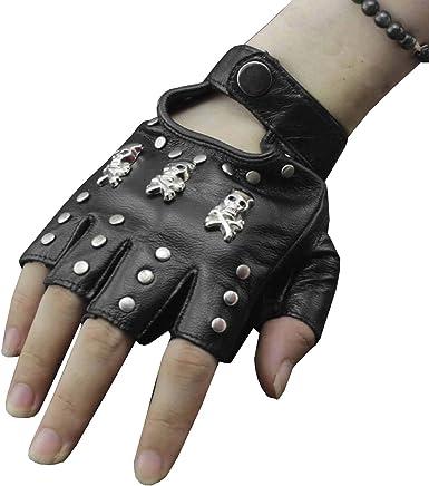 color gris moto para conducci/ón moto punk dise/ño de calavera Guantes de medio dedo Guantes de piel sint/ética sin dedos Wiouy talla /única guantes de piel sint/ética