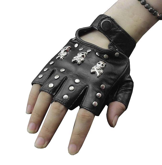 a919dcfc7 Womens Girl's Skull Studded Punk Rock Biker Fingerless Leather ...