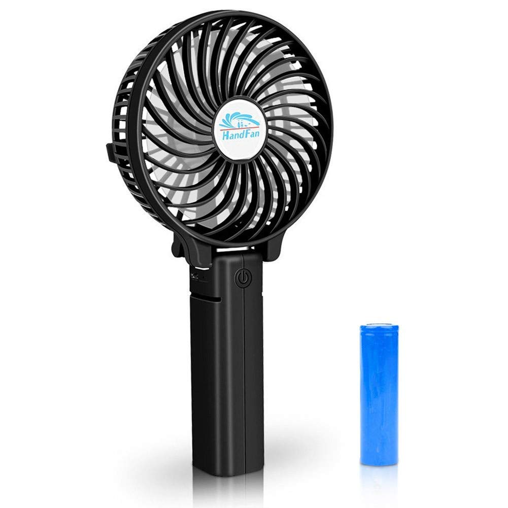 Happy-top Handfan Rechargeable Fans Portable Handheld Mini Fan Battery Operated Cooling Fan Electric Personal Fans Foldable Fans for Home Office and Travel Black