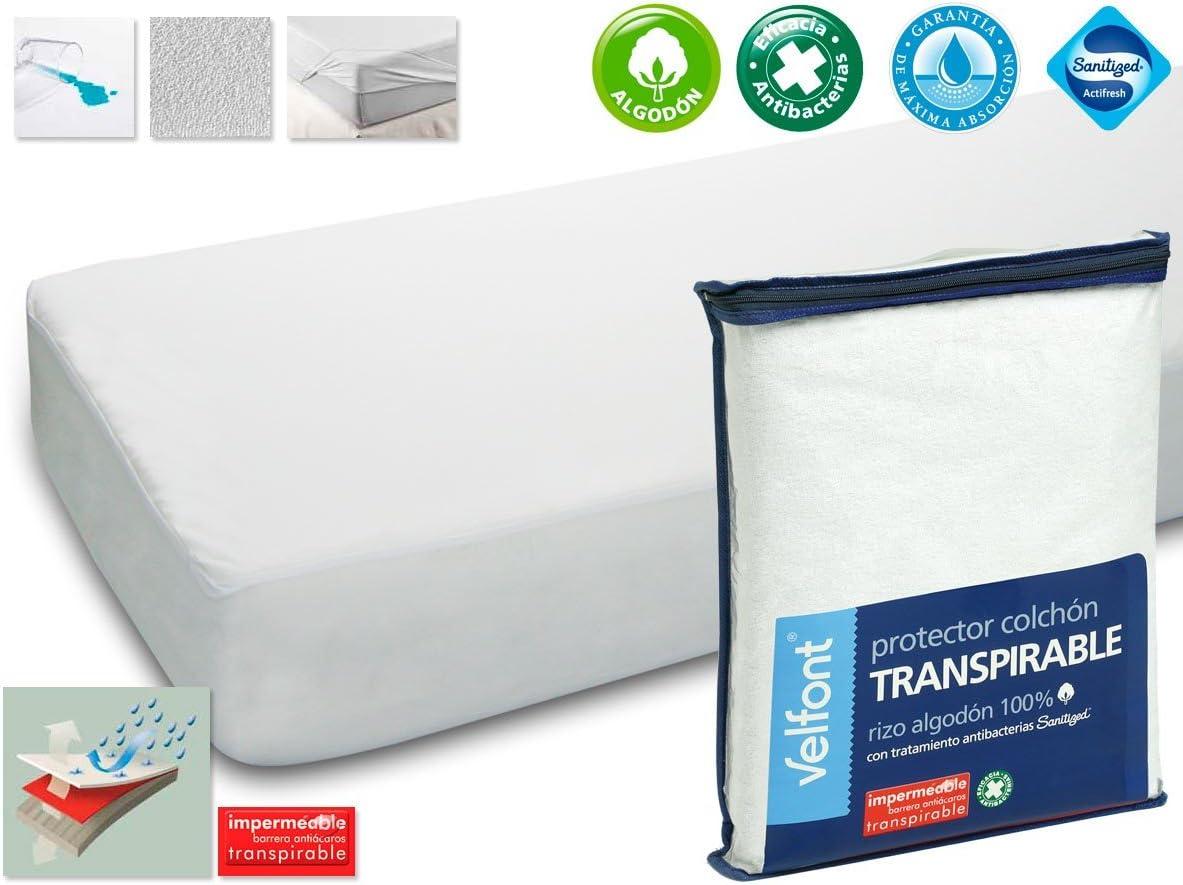 Protector Rizo impermeable para colchon de 105x190/200. Rizo algodón 100% con tratamiento de Aloe Vera