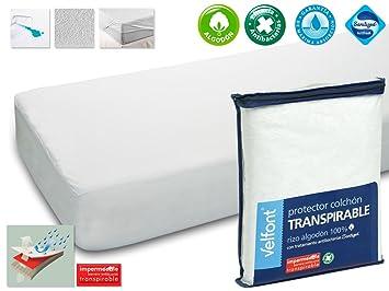Protector Rizo impermeable para colchon de 105x190/200. Rizo algodón 100% con tratamiento de Aloe Vera: Amazon.es: Hogar