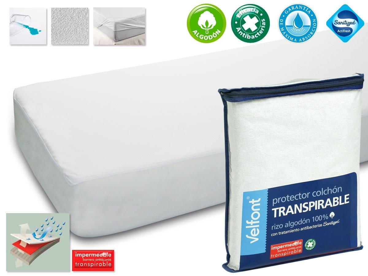 Protector Rizo impermeable para colchon de 105x190/200. Rizo algodón 100% con tratamiento