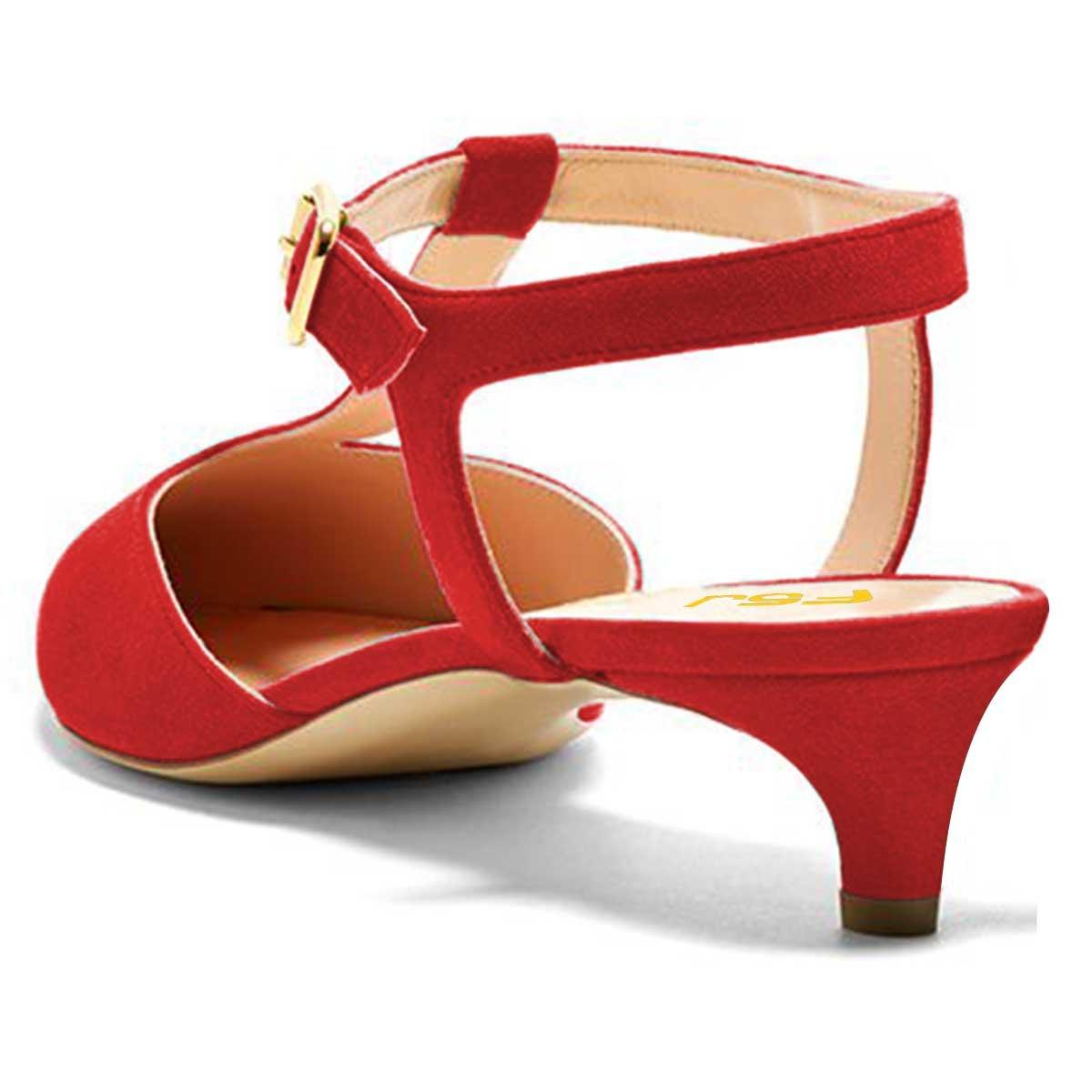 FSJ Women T-Strap Low Kitten Heels Pumps Pointed Toe Slingback Sandals Cofmort Shoes Size 4-15 US
