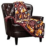 Chanasya Gold Fox Lush Nature Vibrant Color Print Decorative Fleece Throw Blanket - Soft Cozy Snuggly Luxurious Chick Plush Sherpa for Bed Couch Sofa Chair Office (50 x 65 Inches) - Burgundy Red