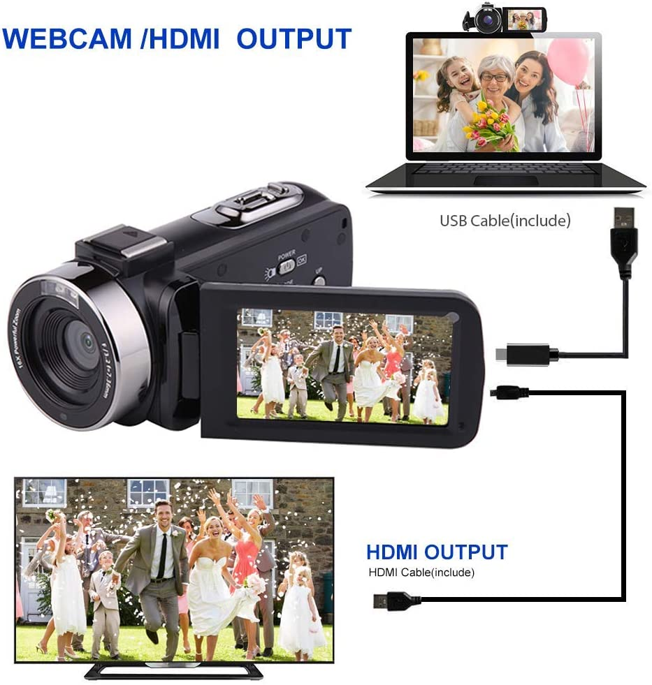 """Camcorder Video camera Full HD 1080P 30FPS 24.0MP Digital Camera Night Vision Vlogging Camera 18x Digital Zoom 3.0/""""IPS 270/° Rotation Screen With Night Vision Fill Light Remote Control and 2 Batteries"""