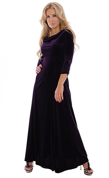 Elegante para vestido de noche vestido largo para concierto y Theater oscuro púrpura terciopelo con elástico