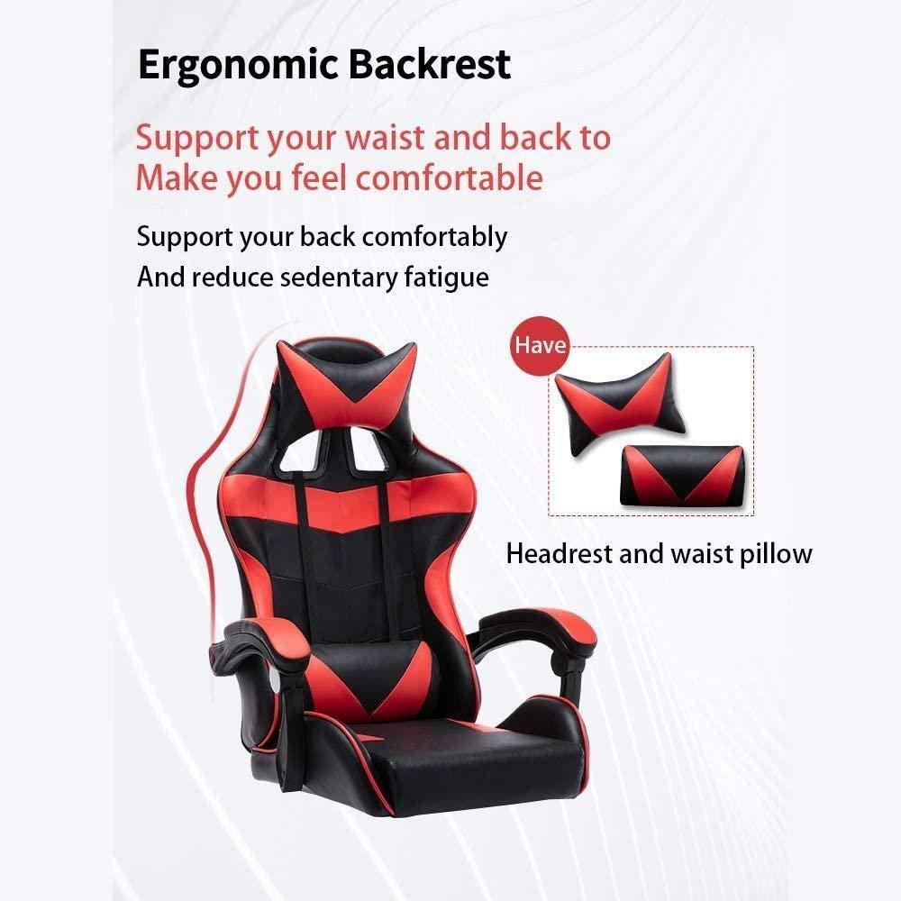 Spelstol, E-sportstol infällbar fotstöd kontorsstol justerbara armar lutande svängbar stol fåtölj (färg: Stålstol ben) Nylon Chair Legs