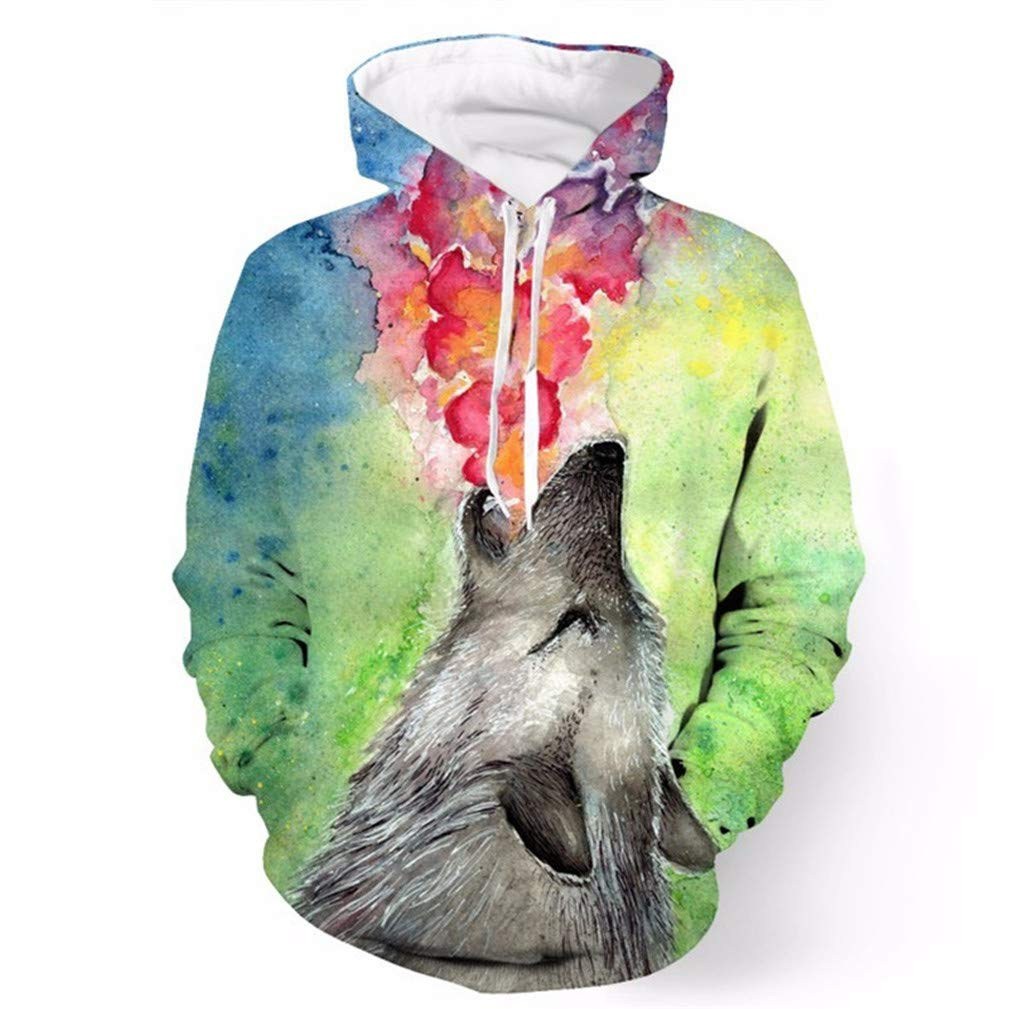 Jet Rainbow Flame Printed Cool Hooded Sweatshirt