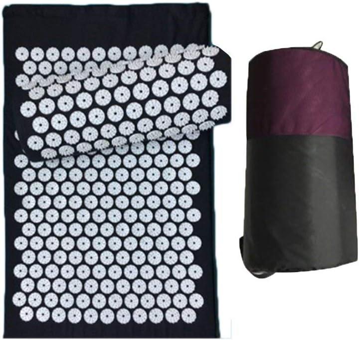 Massage Acupuncture Mat Acupressure Pillow Cushion Pain Relief Acupuncture Mat Black