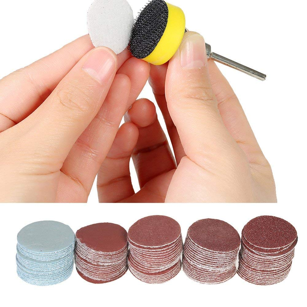 """1 inch/25mm Sanding Discs Pad,100pcs 100-3000 Grit Sandpapers with 1/8"""" Shank Backing Pad for Drill Grinder Rotary Tools (1 INCH)"""