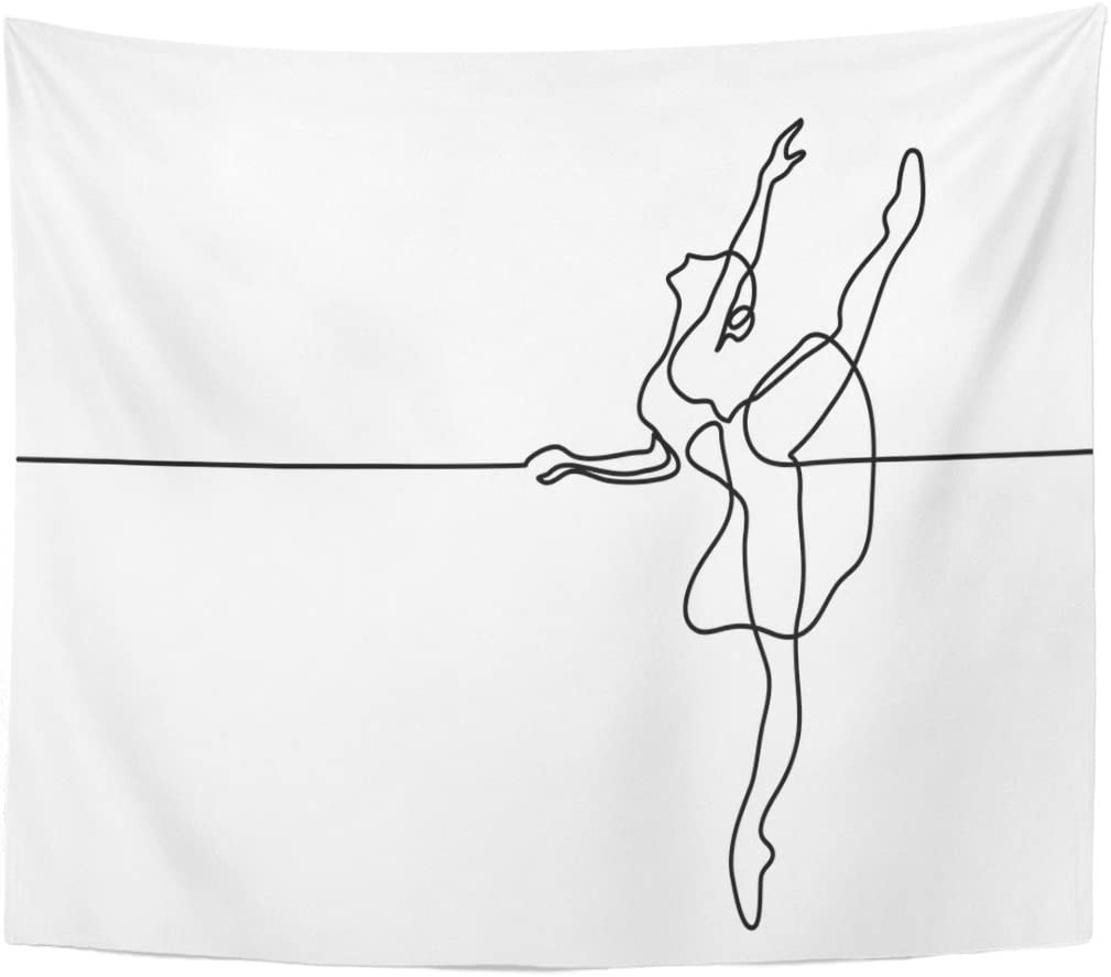 Amazon Com Tompop Tapestry Artist Continuous Line Drawing Ballet Dancer Ballerina Balance Beautiful Home Decor Wall Hanging For Living Room Bedroom Dorm 60x80 Inches Home Kitchen