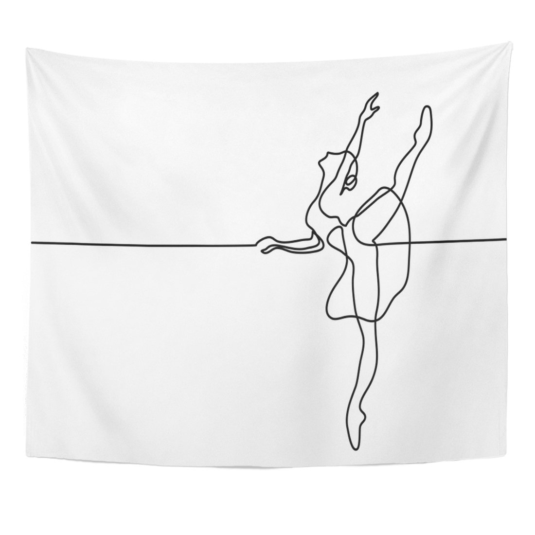TOMPOP Tapestry Artist Continuous Line Drawing Ballet Dancer Ballerina Balance Beautiful Home Decor Wall Hanging for Living Room Bedroom Dorm 50x60 Inches