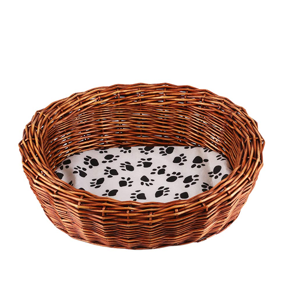 UTOPIAY Oval Dog cat basket Handmade Wicker pet dog bed sleeping place for Pet Cat Dog Rattan Kennel with mat