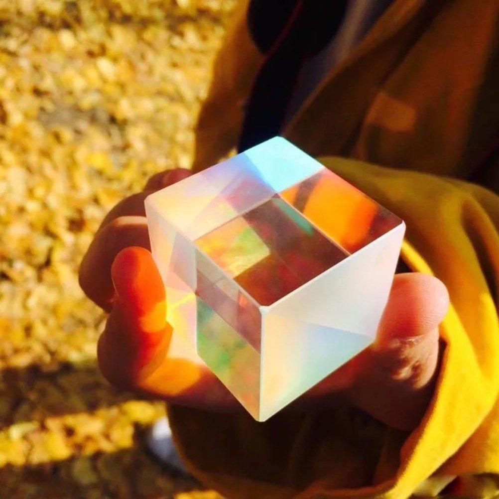 UKCOCO Prism X-Cube Optical Glass RGB Dispersion Cube for Physics Teaching Decoration Arts 2.3x2.3x2.3cm
