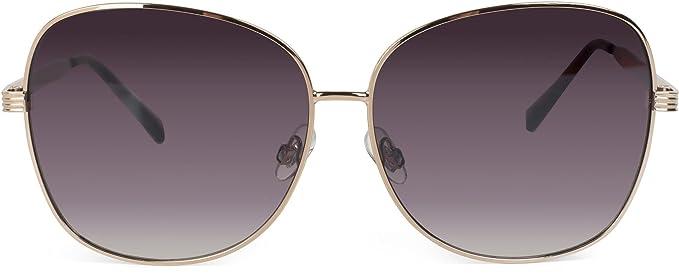 styleBREAKER occhiali da sole con lenti ovali in policarbonato e montatura intera, da donna 09020070, colore:Montatura Oro / Vetro Marrone Sfumato