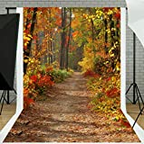 TMOTN 5x7ft Yellow Natural Scenic Photography Backdrops Autumn Backdrop Beautiful Leaves Trail Photo Studio Background D772