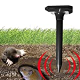 PESGONE Pack of 2 Solar Mole Repellent Electronic Mole Repeller Chaser Control Vole Rodent Gopher Repellent Ultrasonic Not Like Mole Killer Poison Mole Traps That Work Cruel