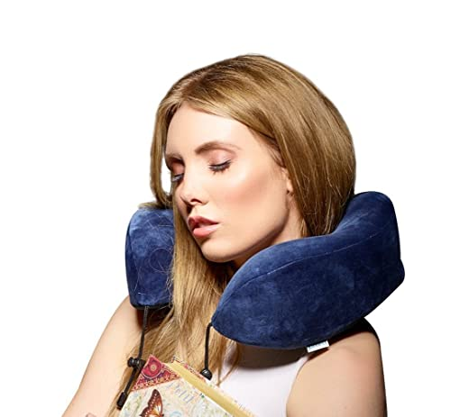 Prism Travel Pillow with Carry Case, Luxury Neck Support for Airplane, Car, Train. Ergonomic Design Improves Comfort, Unique Built In Carry Case, Super Soft and Comfortable Memory Foam