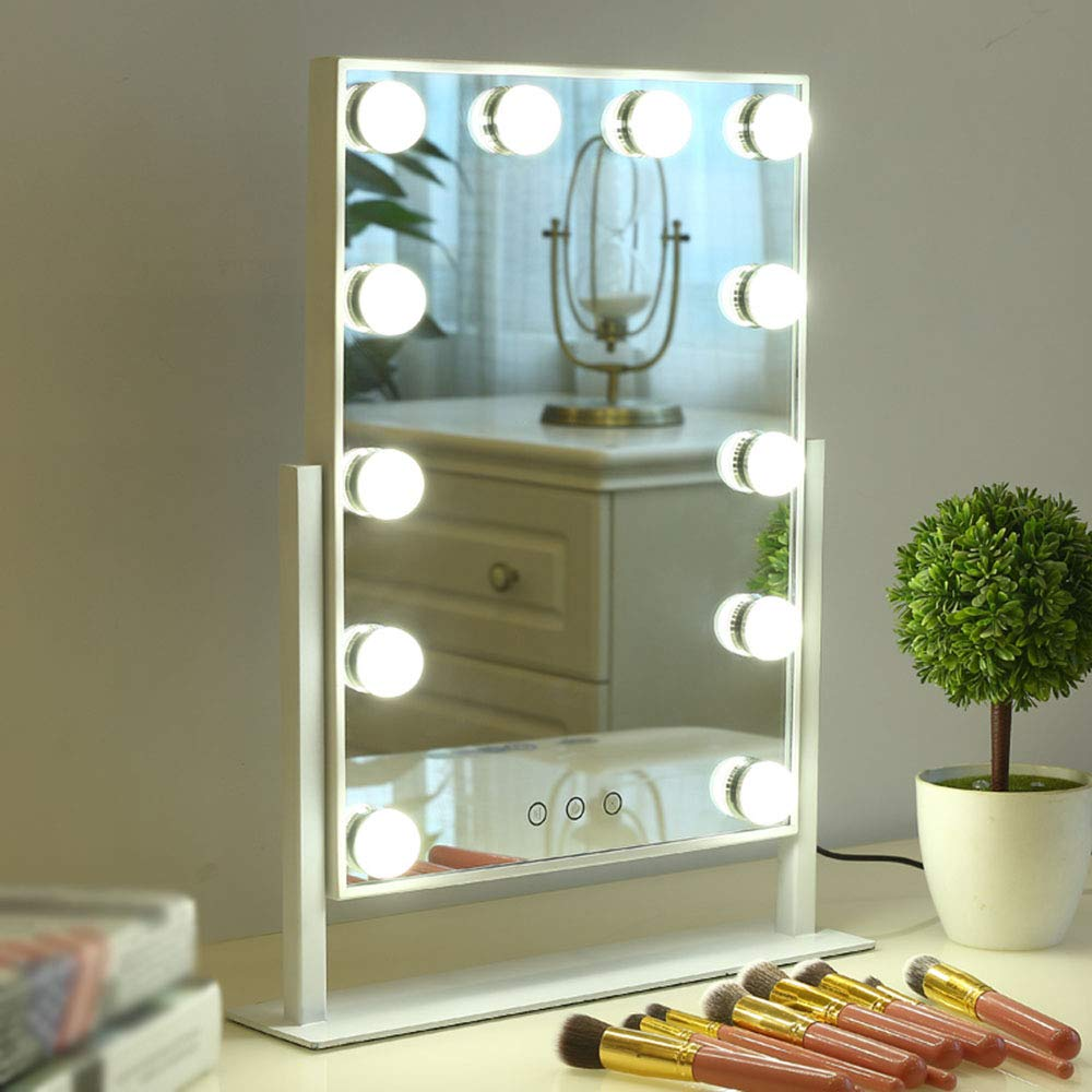 White 12 lights Mirror, LED Illuminated Square Desktop Portable Vanity Mirror, Ultra Clear Fill Light Live Makeup Mirror