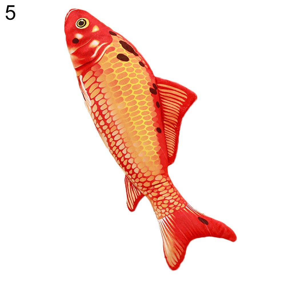 Mosichi 3D Big Fish Shaped Throw Pillow Soft Plush Colored Waist Cushion Cute Sofa Bed Decor Gift (5#)