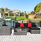 Cloud Mountain 6 Piece Rattan Wicker Furniture Set Outdoor Patio Garden Sectional Sofa Set Cushions Salsa Pillows, Mix Gray