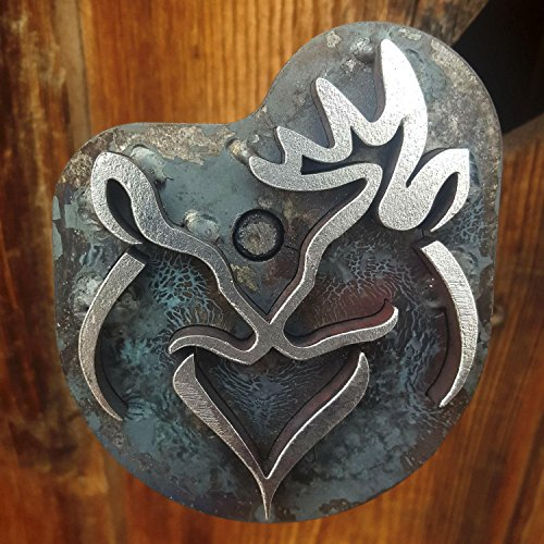 (Buck and Doe Heart Branding Iron - Stamp - The Heritage Forge Hand Forged Handle / 8 inch)