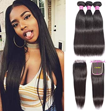 Amazon Com Alianna Straight Hair Bundles With Closure 26 28 30 With 20 Inch 100 Brazilian Straight Human Hair 3 Bundles With Lace Closure Free Part Virgin Hair Weave Natural Color Beauty