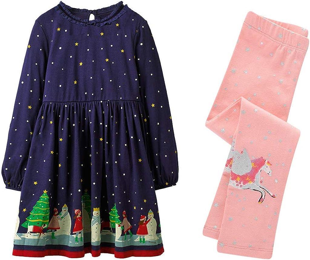 Lausana Long Sleeve Casual Dress Set Girls Applique Cartoon T-Shirt Dress Leggings Outfit 3-7 T