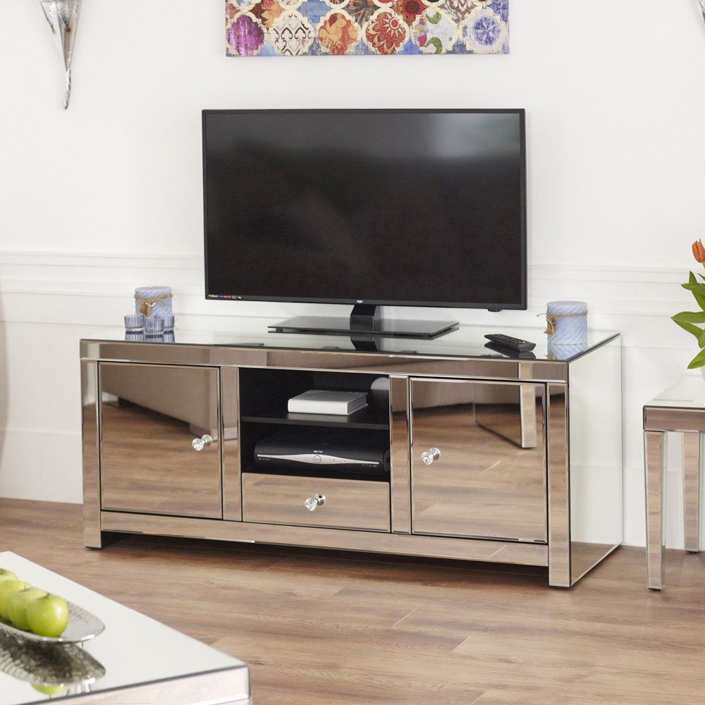 Venetian Mirrored Widescreen TV Unit Amazoncouk Kitchen Home