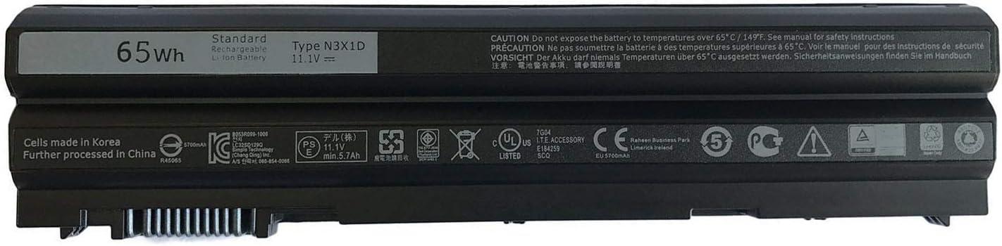 FLIW N3X1D Replacement Battery Compatible with Dell Latitude E6540 E6440 E5530 E5430 E6520 E6420 Precision M2800 6 Cell [11.1V 65Wh]