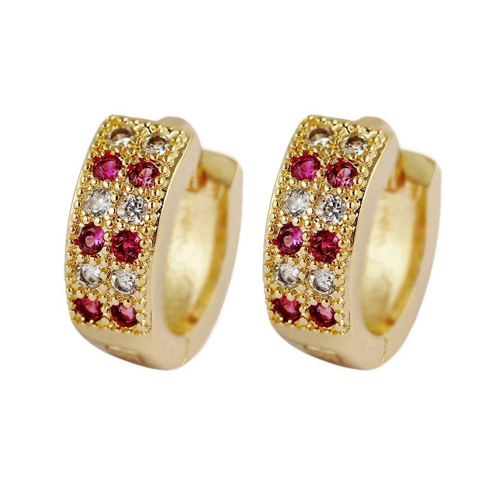 Yazilind Vogue 18K Gold Plated Cubic Zirconia Hoop Huggies Earrings for Women Jewelry Gift YAZILIND JEWELRY LTD YAZILIND JEWELRY LIMITED 1076E0900