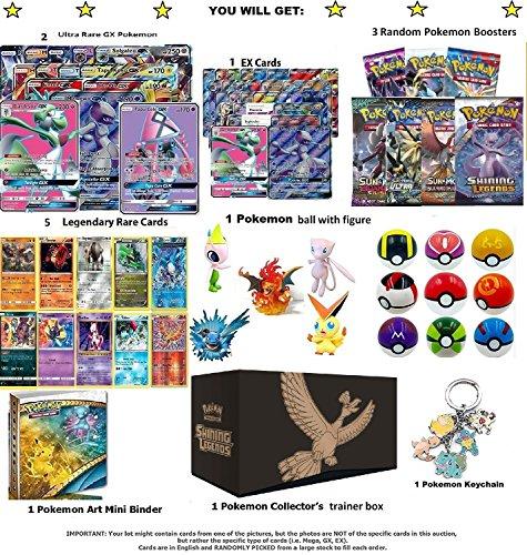 Pokemon Ultimate Christmas gift Ultra RARE GX CARD LOT with 2 Ultra RARE GX GUARANTEED! Includes, 3 Random Pokemon Booster, 1 Pokemon Mini Album, 1 Pokemon Ball, 1 Pokemon Keychain by All Star Games