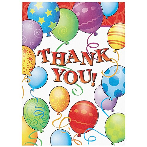 Balloons Birthday Thank You Note Cards, 8ct -