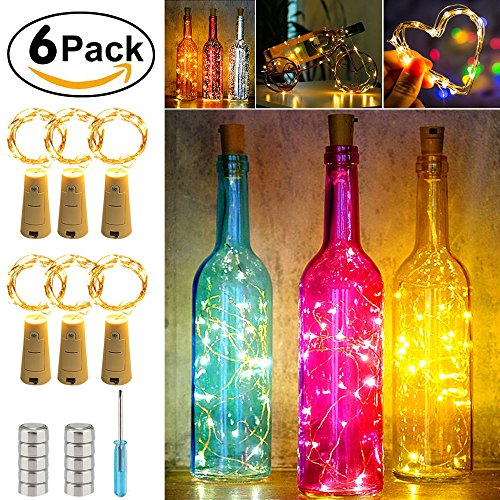 Wine Bottle Cork Lights Set of 6,40inch/ 1m 20 LEDS Copper Wire String Lights for Bottle DIY, ADSION Christmas, Halloween, Wedding, Party, Decor, Warm White by ADSION