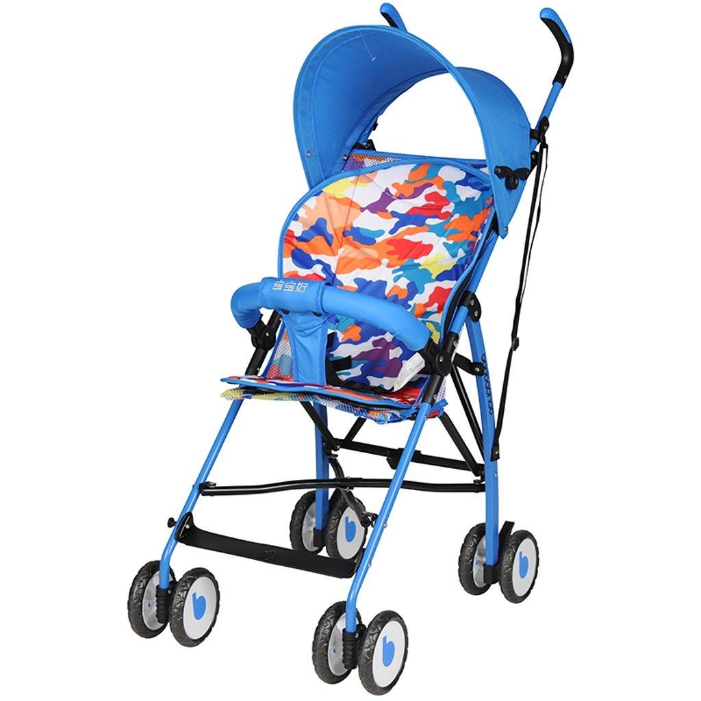 ストローラ傘ウルトラライトポータブルベビーカー折りたたみトロリー(青)(赤)66 * 46 * 100cm ( Color : Blue ) B07BSR27S9
