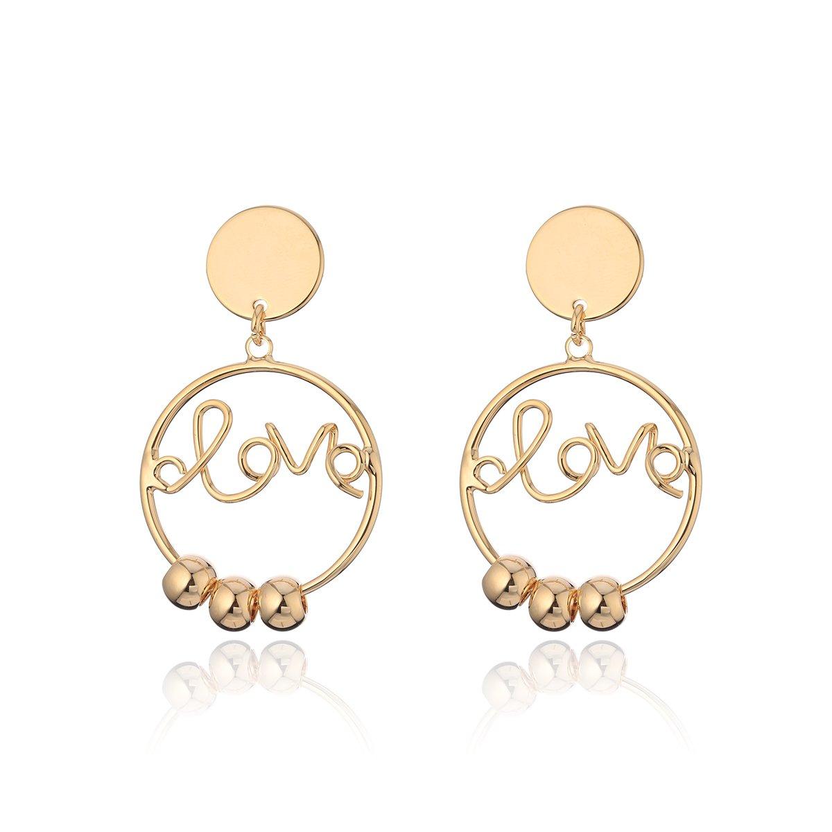 Dangle Earring for Women,Gold Circle Drop Earring Girls Silver Stud Earring Stainless Steel Hoop Earring