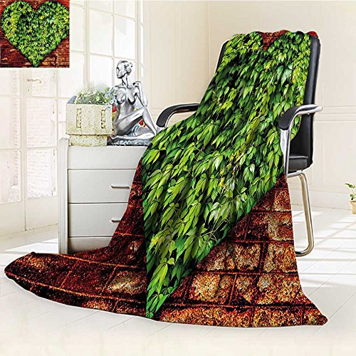 YOYI-HOME Fleece Duplex Printed Blanket 300 GSM Curve on Brick Wall with Full of Leaves Valentines Romance Print Red Lime Green Reversible Super Soft Warm Fuzzy Bed Blanket /W86.5 x H59 ()