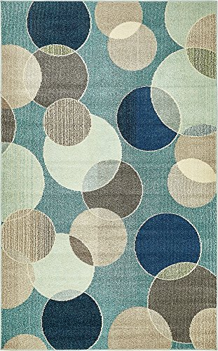 Unique Loom Chromatic Collection Modern Bokeh Kids Blue Area Rug (5' 0 x 8' 0) ()