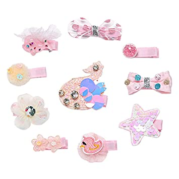 10Pcs Cute Snap Hair Clips Premium Metal for Baby Girls Birthday Gifts