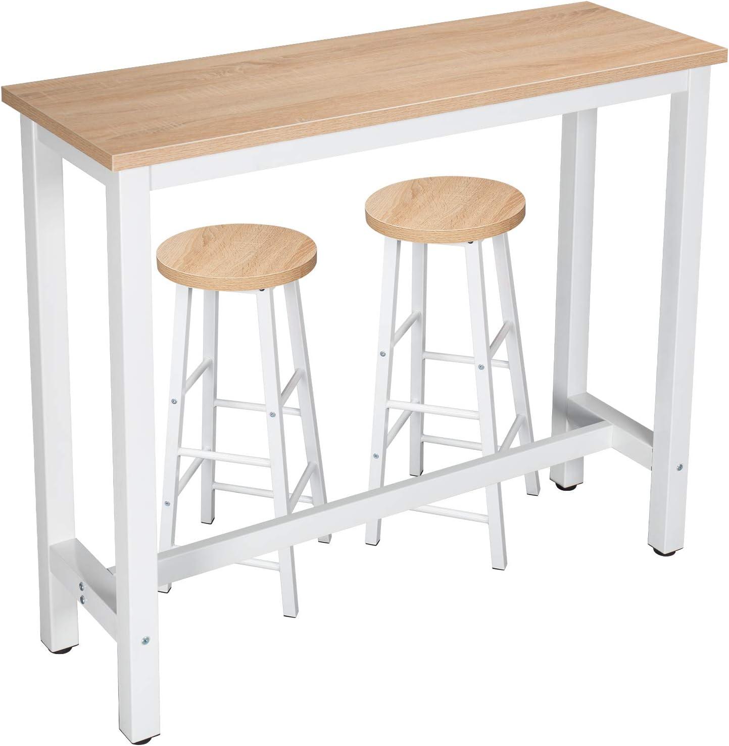 WOLTU Set Mesa de Bar y 2 uds. Taburete de Bar Muebles Cocina Silla de Comedor para Salon Cocina Mesa 120x40x100 cm Estructura de Metal, MDF Roble Claro BT17hei+BH130hei-2