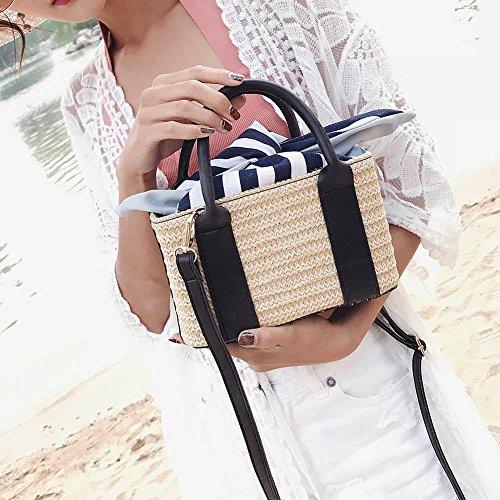 Prosperveil Clutch set Summer Women Travel 2pcs Black Handbags Shoulder Beach Straw Crossbody 1X1UxArw