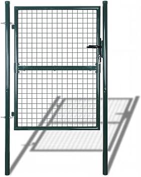 Tidyard - Puerta de Malla metálica para jardín, 400 x 175 cm, Valla de Acero galvanizado con Pernos, Cerradura y 3 Llaves: Amazon.es: Hogar