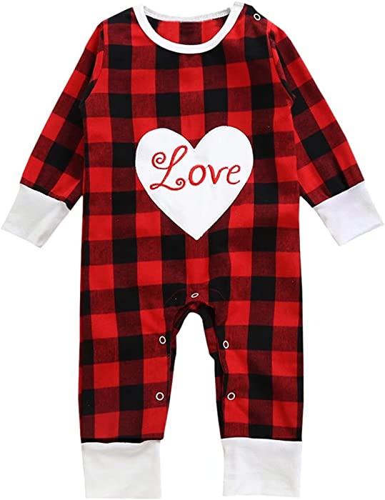 0f54a16d3 Amazon.com: Unisex Baby Long Sleeves Plaids Playsuit Jumpsuit Romper  Bodysuit Onesie Outfit with Love Saying, Black & Red, Tag 70 = 0-6 Months:  Clothing