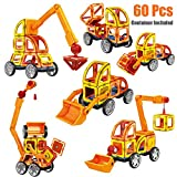 Yzakka 60Pcs Educational Magnetic Assemble Building Tiles DIY Blocks Construction Truck Vehicle Playset with Carry Box