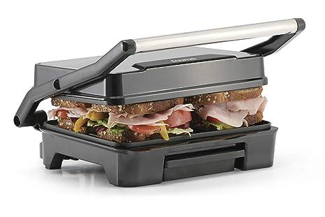 Taurus ETNA INOX Grill, parrilla eléctrica, sandwichera y plancha de asar, placas antiadherentes, 2200 W, superficie 28 x 22, recoge grasas, plata y ...