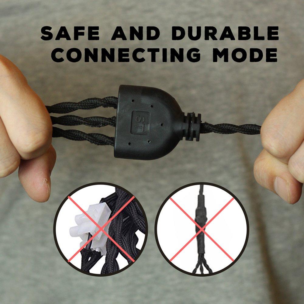 Judy Lighting - 3 Socket 24.5FT Plug-in Vintage Pendant Light Fixture Set,Swag Lights 4 Hook Sets with On/Off Switch (Pearl Black)