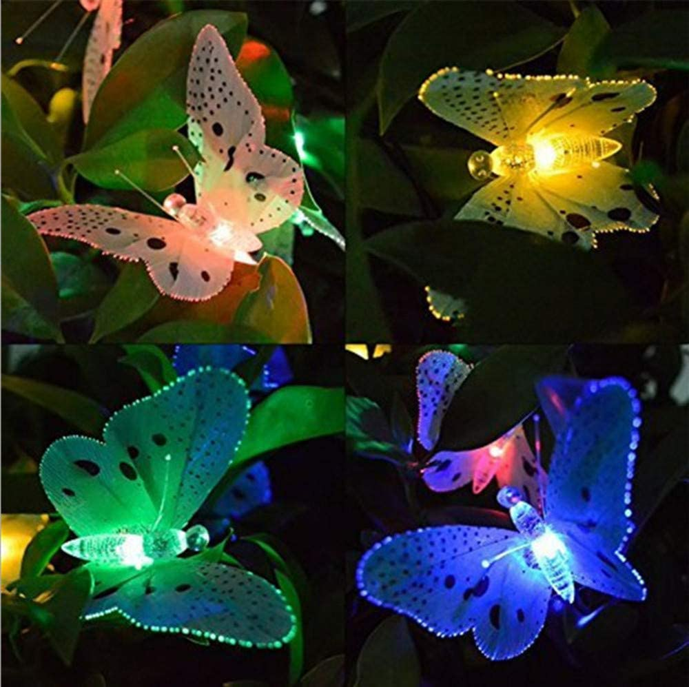 Solar Powered Garden Lights, Juesi 12 LED Butterfly Fiber Optic Garden Patio Outside Waterproof Outdoor Lamp for Homes, Wedding,Cafe, LED Fairy Lights 12pcs w/Instruction Manual (Multicolor)