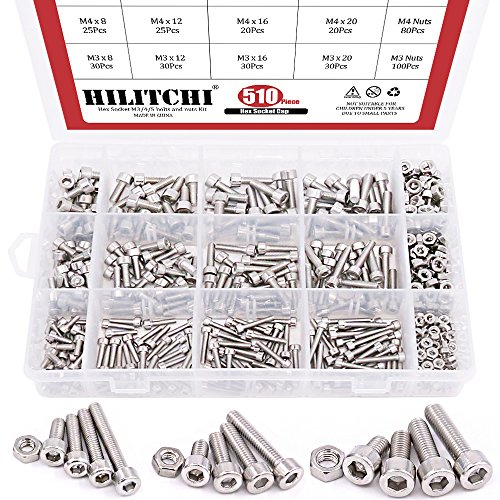 Hilitchi 510pcs M3 M4 M5 Stainless Steel Hex Socket Head Cap Bolts Screws Nuts Assortment Kit - 304 Stainless Steel by Hilitchi